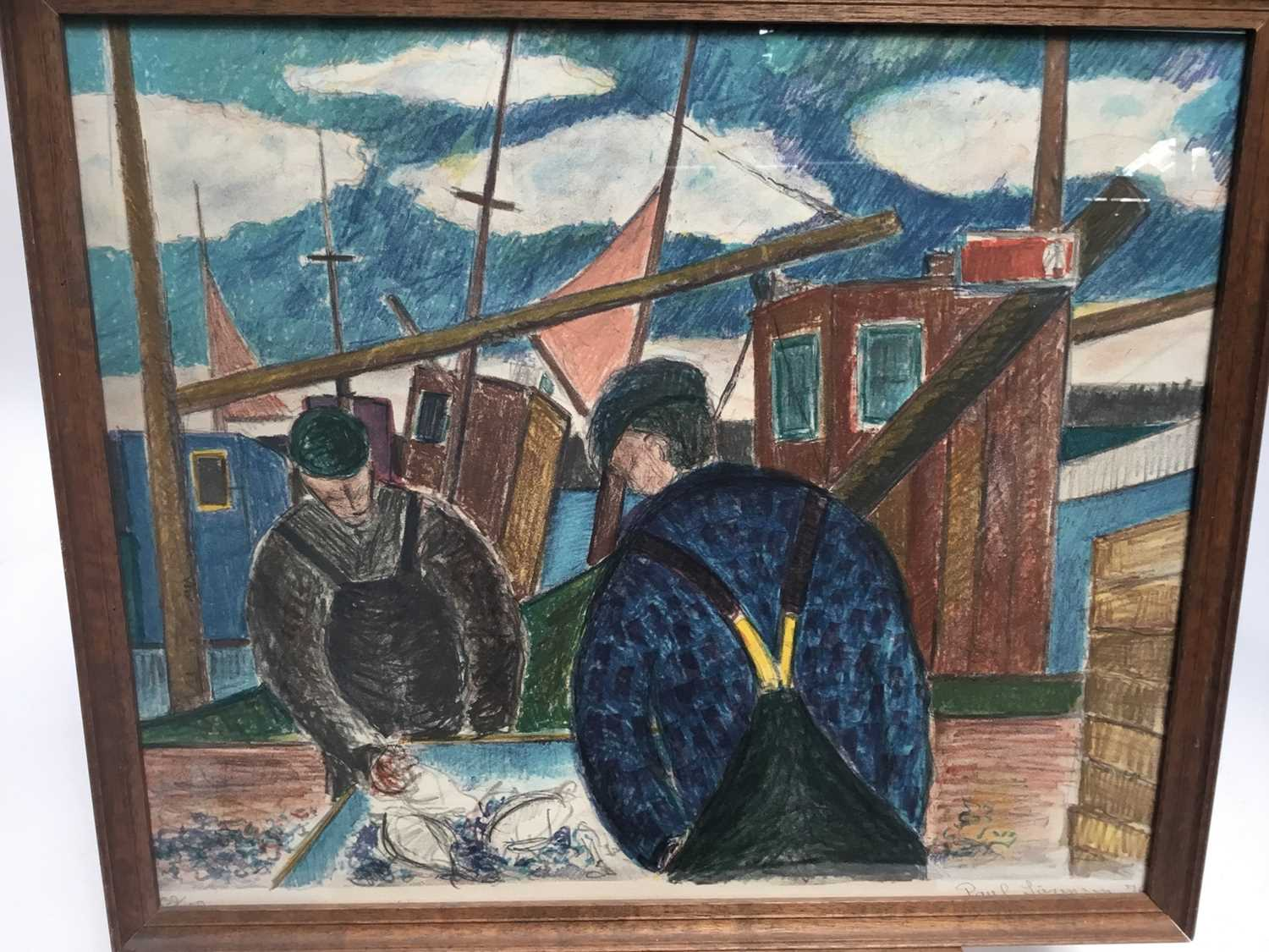 Lot 14-Scandinavian school (20th century) lithograph - Fishermen