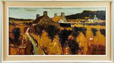 Lot 1094 - * Donald McIntyre (1923-2009) oil on board - 'Dwyran', Phoenix Gallery label