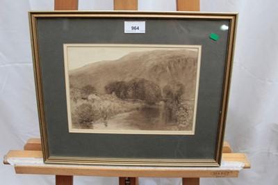 Lot 8-Attributed to Alfred Williams Hunt - sepia watercolour river landscape.