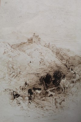 Lot 12-Early 19th century pen and ink study of cattle before a castle.