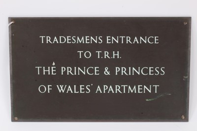 Lot 87 - Rare bronze wall plaque engraved 'Tradesmens Entrance To T.R.H. The Prince and Princess of Wales' Apartment
