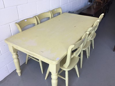 Lot 13-Large painted pine kitchen table on turned legs, together with six similarly painted chairs (7 pieces) table 182 cm length, 90cm width, 76cm height