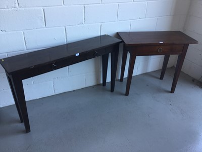 Lot 27-Contemporary hardwood hall table of narrow form, with two draws on square taper legs, by Lombok, together with another similar smaller table. Larger table 130cm in length, 76cm in height, 30cm in d...