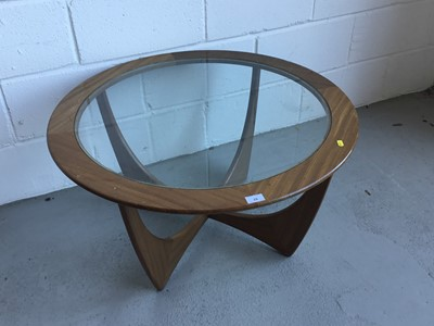 Lot 29-G-Plan 'Astro' teak coffee table of circular form with inset glass top, 83cm in diameter