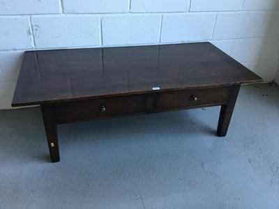 Lot 32-Good Quality oak low coffee table of rectangular form with two draws, on square taper legs, 140cm in length, 46cm in height, 69cm in depth