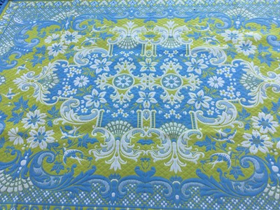 Lot 44-Pair of large woven rugs with foliate and scroll decoration on blue and yellow ground, each 294 x 212cm