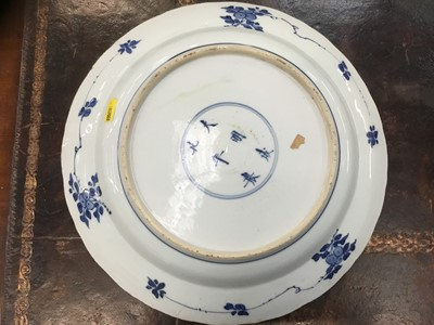 Lot 20-Pair of 18th century Chinese blue and white chargers, Chenghua six character marks