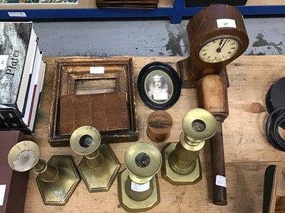 Lot 21-Edwardian balloon form clock, 19th century brass candlesticks, leather wallets, mauclineware box, portraits miniature, 19th century framed engraving