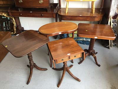 Lot 47-Edwardian Mahogany kidney shaped two tier occasional table, together with a mahogany tilt top wine table, another occasional table with spiral twist column and a reproduction drop flap occasional t...