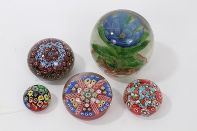 Lot 44-Group of five decorative paperweights, early 20th century and later