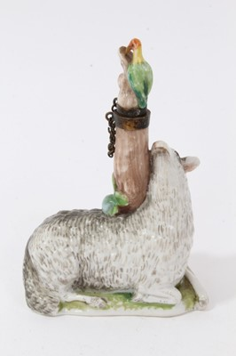 Lot 47-Late 19th / early 20th century continental porcelain scent bottle, modelled as a sheep