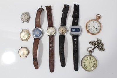Lot 24-Group of vintage wristwatches and two pocket watches