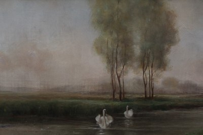 Lot 15-O. Lamont oil - pastoral scene with cavorting figures