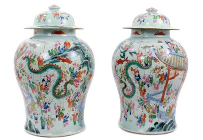 Lot 14-Pair Chinese 'Hundred Boys' jars