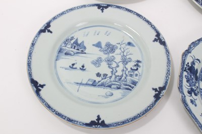 Lot 24-Group of six 18th century Chinese blue and white plates