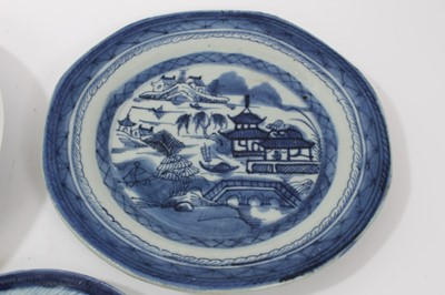 Lot 25-Group of six Chinese and Japanese blues and white plates