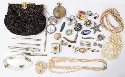 Lot 9-Vintage costume jewellery and bijouterie including WWI silver cased trench watch