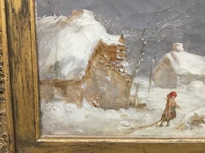 Lot 17-Victorian oil on canvas snow scene