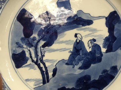 Lot 1-Good pair of Chinese blue and white porcelain dishes, each painted with two figures in a rocky landscape