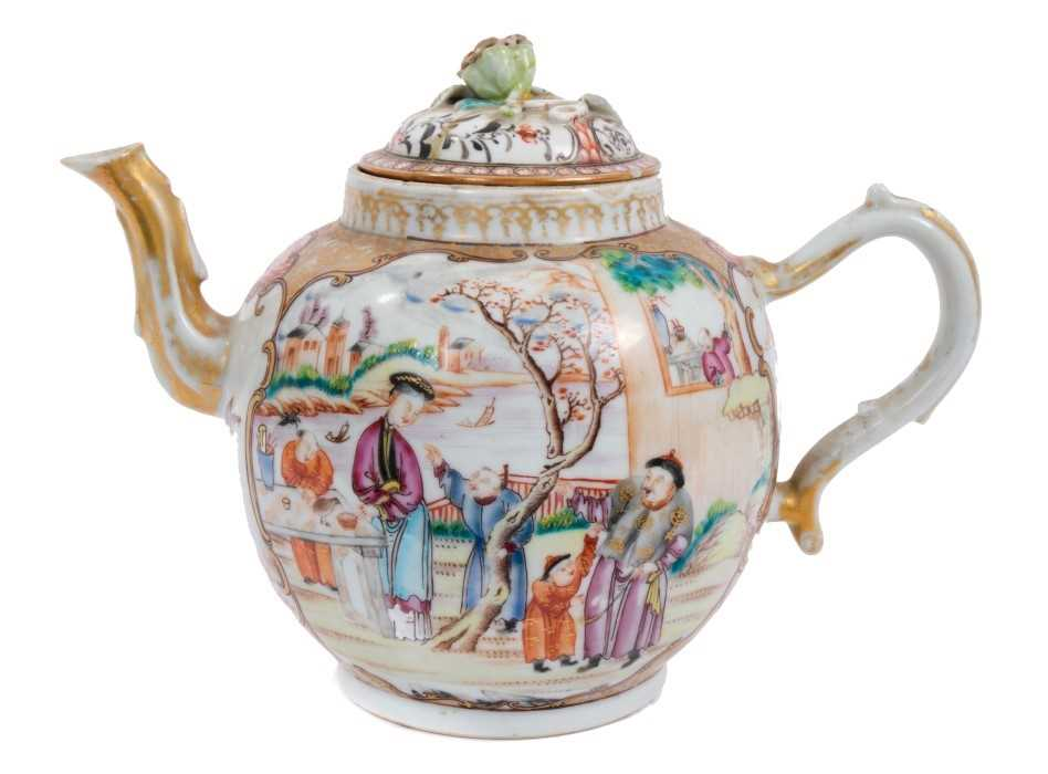 Lot 3-18th century Chinese teapot and cover of large size