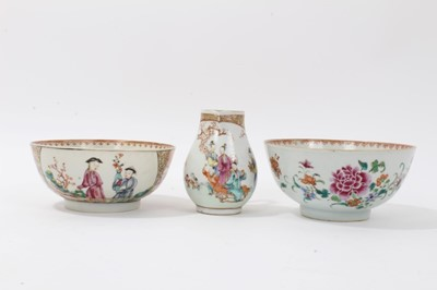 Lot 7 - Two Chinese famille rose bowls and similar milk jug