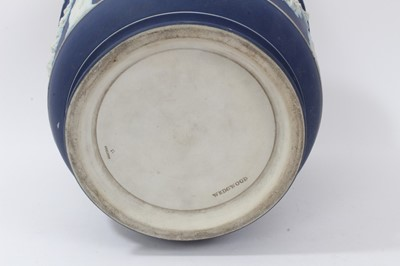 Lot 46-Large antique Wedgwood dark blue jasper ware jardinière, circa 1890, decorated with classical figures and swags, marks to base, 23cm height x 26cm diameter