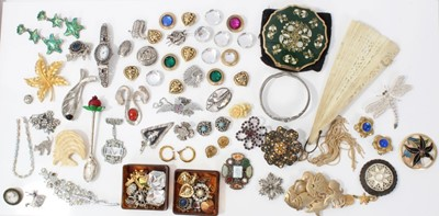 Lot 8-Vintage costume jewellery including silver brooches, RAF paste set sweetheart brooch, Stratton compact and bijouterie