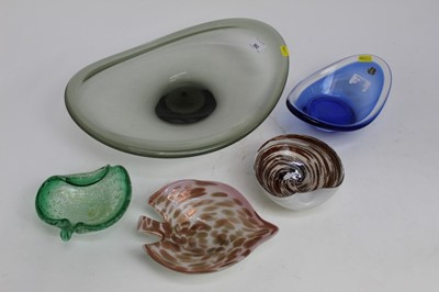 Lot 22-Decorative Holmegaard smokey grey art glass dish together with four other stylish art glass bowls including Murano