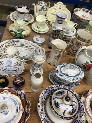 Lot 10-Early 20th century three handled tyg with plated rim, together with other decorative china