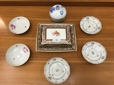 Lot 12-Wedgwood Clio patterned trinket box with matching dish and vase, Maling lustre Peony Rose two handled bowl, Herand trinket box with cover and matching saucers, together with other lustre and decora...