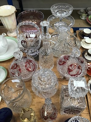 Lot 13-Quantity of tinted and cut glassware including a Caithness atomiser