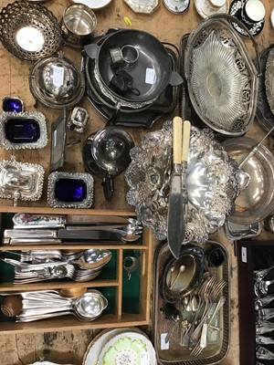 Lot 15-Canteen of Guy Degrenne cutlery set at Harrods, together with a miniature plated revolving entree dish and other plated items