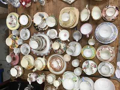 Lot 16-Set of five Dresden teacups with two saucers, together with a quantity of china including a pair of Aynsley teacup and saucers, Spode milk jug, Royal Doulton, Shelley and Foley china