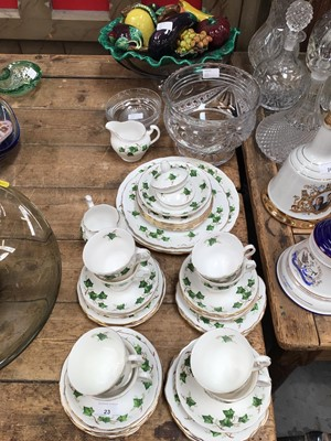 Lot 23-Quantity of Colclough Ivy Leaf teaware, together with replica ceramic fruit in dish and other glass items
