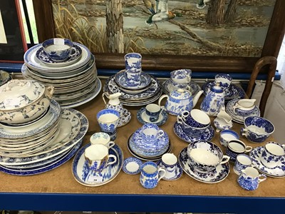 Lot 39-Group of mostly 19th century blue and white china, including Wedgwood