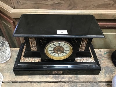 Lot 25-19th century slate and marble mantle clock with inlaid decoration