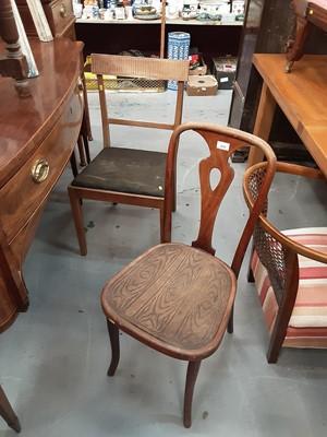 Lot 35 - Bentwood Thonet chair, Scandinavian teak bar back chair, simulated marble plinth