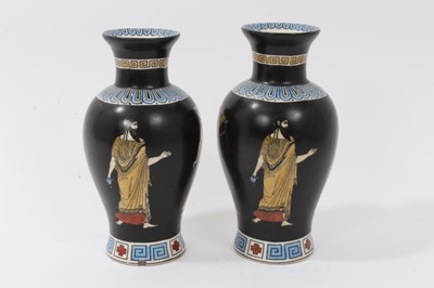 Lot 33-Good garniture of antique Greek revival ceramics, including a pair of pink ground urns by Brown-Westhead, Moore & Co, and a pair of Tuscan Grecian Ware vases (4)