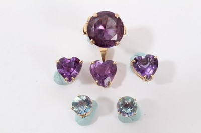 Lot 11-14k gold faux Alexandrite ring, heart shaped pendant and two pairs earrings