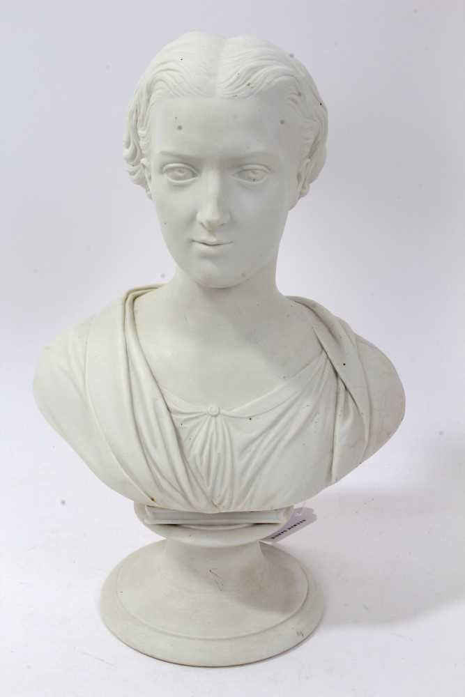 Lot 35-19th Century Royal Copenhagen Parian Ware bust of Princess Alexandra, by Theobald Stein (1829 - 1901), raised on plinth base with impressed factory marks to reverse.