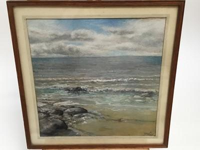 Lot 21-Good chalk seascape signed Stock 1949