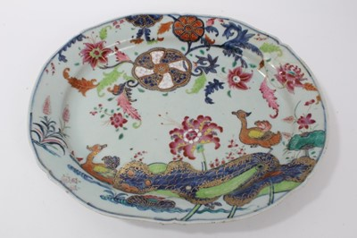 Lot 40-18th century Chinese tobacco leaf porcelain platter, finely decorated in famille rose enamels and underglaze blue, 40.5cm across