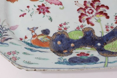Lot 41-18th century Chinese tobacco leaf porcelain platter, finely decorated in famille rose enamels and underglaze blue, 40.5cm across