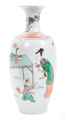 Lot 37-Fine antique Chinese famille verte porcelain baluster vase, Kangxi style but probably later, decorated with a scene of children playing, 21cm height