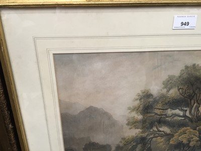 Lot 7-Attributed to Samuel Howitt (c.1765-1822) watercolour - stag beneath an oak tree in mountainous landscape, apparently unsigned, in glazed gilt frame, 30cm x 42cm