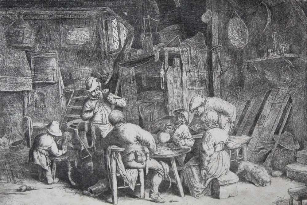 Lot 14-Adriaen van Ostade (1610-1685) etching - The Breakfast, c1664