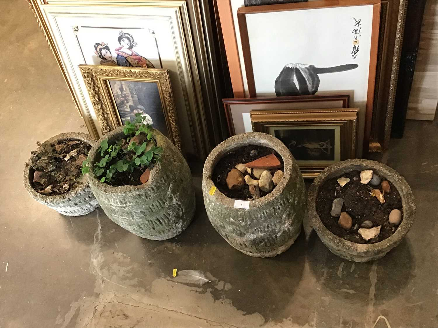 Lot 7-Two pairs of concrete garden planters