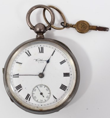 Lot 12-Waltham USA silver cased pocket watch