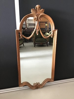 Lot 9-Continental narrow carved pine wall mirror...