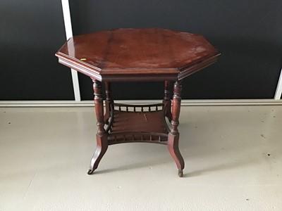 Lot 12-Edwardian mahogany octagonal table with turned...